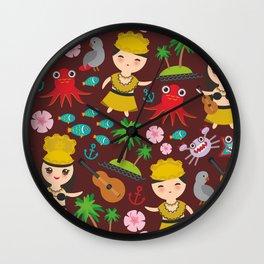 Hawaiian Hula Dancer Kawaii boy girl seamless pattern, set of Hawaii symbols with a guitar ukulele Wall Clock