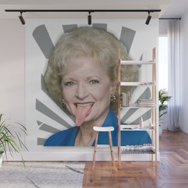Betty White tongue out Wall Mural