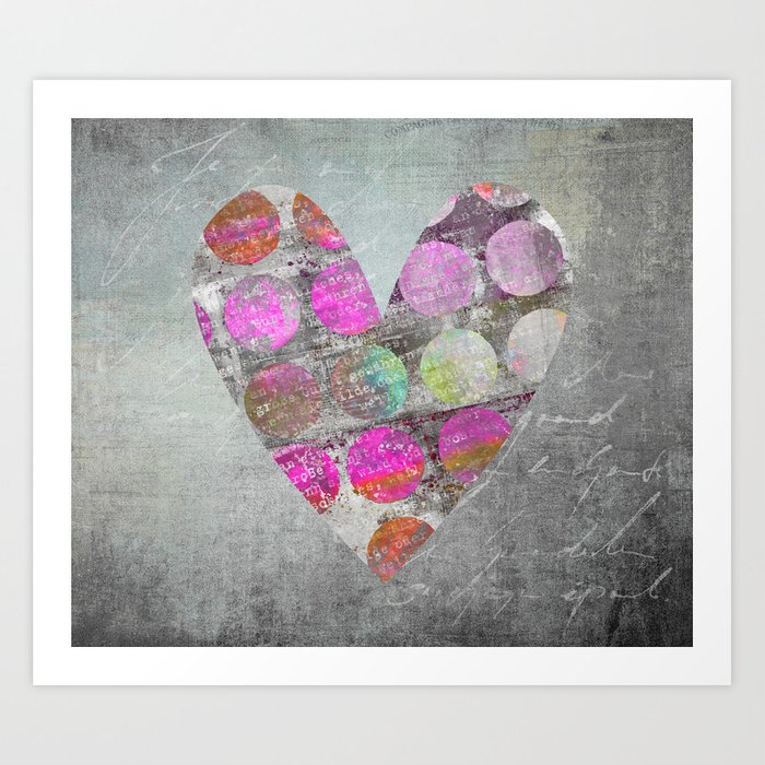 Passion  mixed media heart art Art Print
