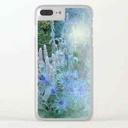 Blue Cone Flowers Clear iPhone Case