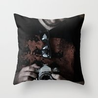 photographer Throw Pillows featuring photographer by caporilli