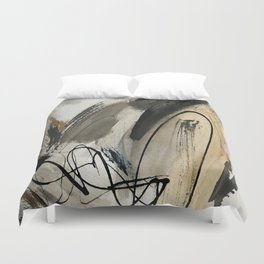 Drift [5]: a neutral abstract mixed media piece in black, white, gray, brown Duvet Cover