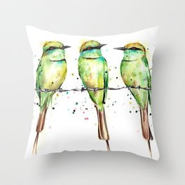 Green Bee-Eaters Throw Pillow