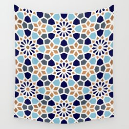 Persian Mosaic – Blue & Gold Palette Wall Tapestry