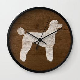 White Standard Poodle Silhouette(s) Wall Clock