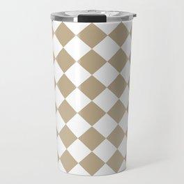 Diamonds - White and Khaki Brown Travel Mug