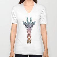 chris brown V-neck T-shirts featuring GiRAFFE by Monika Strigel