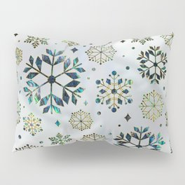 Festive Golden Abalone Shell Snowflake pattern Pillow Sham