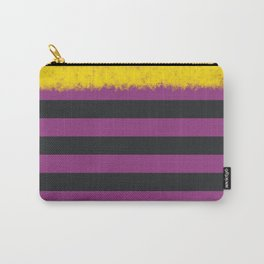 Plum and Charcoal Stripes with Yellow Carry-All Pouch
