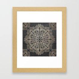Mandala White Gold on Dark Gray Framed Art Print