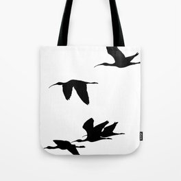 Silhouette of Glossy Ibises In Flight Tote Bag