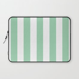 Turquoise green - solid color - white vertical lines pattern Laptop Sleeve