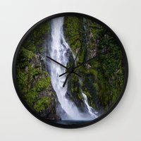 waterfall Wall Clocks featuring Waterfall.. by Michelle McConnell