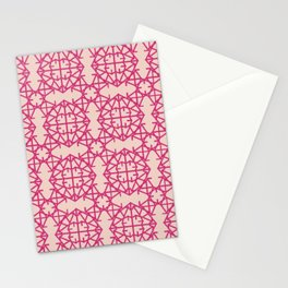 Diamond Bug Pattern Pink Yarrow - Pale Dogwood Stationery Cards
