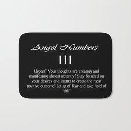 angel number 111 Black & White Affirmation Bath Mat
