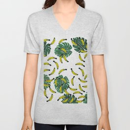 Watercolor Swiss Cheese Plant and Bananas Unisex V-Neck