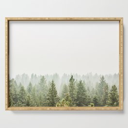 arial forest print, tree top print, wall art, woodland print, forest print, arial fog tree phoo Serving Tray