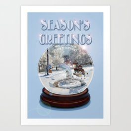 Blue Christmas Greeting Card Art Print