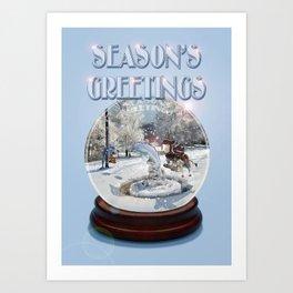 Blue Christmas Greeting Card Art Print