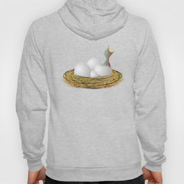 Hungry little bird and eggs in the nest Hoody