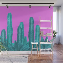 Agave Cactus Turquoise pink Wall Mural