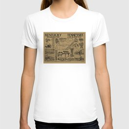 Vintage Illustrative Kentucky and Tennessee Map (1912) - Tan T-shirt