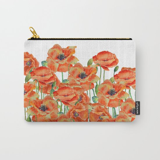 Watercolor poppy field illustration Carry-All Pouch