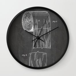 Toilet Paper Patent - Bathroom Art - Black Chalkboard Wall Clock