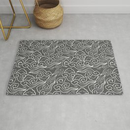 Vintage Japanese Clouds, Graphite Gray / Grey Rug