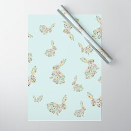 Spring Flowers Bunny on Blue Wrapping Paper