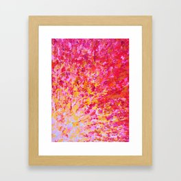 ROMANTIC DAYS - Lovely Sweet Romance, Valentine's Day Sweetheart Pink Red Abstract Acrylic Painting Framed Art Print