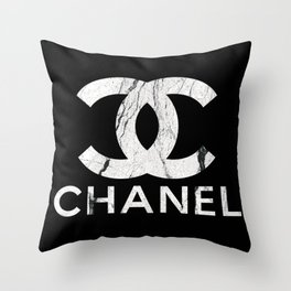 Couture Fashion Designer Inspired Marble Typography Throw Pillow