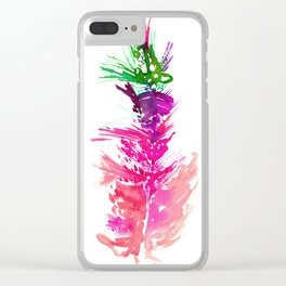 Feather Art Print Clear iPhone Case