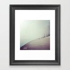 Lake Shore Path in Fog Framed Art Print