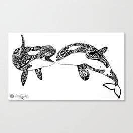 playing Orcas Canvas Print