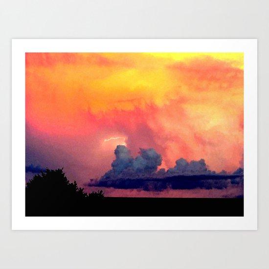 Lightning over Madison Art Print
