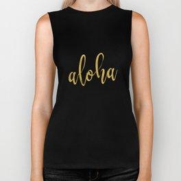 Aloha gold brush script on midnight navy blue glam summer design Biker Tank