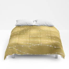 Merry christmas- white winter lights on gold pattern Comforters
