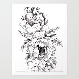 Peony, Flowers, Floral Art, Minimalist, Wall Art, Ink Art Print