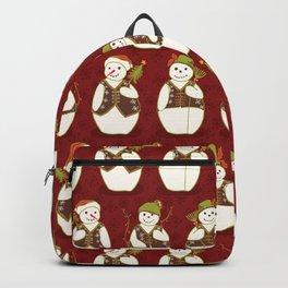 Red Christmas Festive Winter Snowman Star Friends Backpack