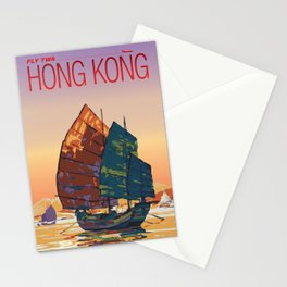 Vintage-Style Hong Kong Travel Poster Stationery Cards