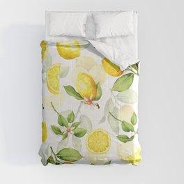 mediterranean summer lemon branches on white Comforters