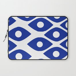 Blue and White Pattern Fish Eye Design Laptop Sleeve