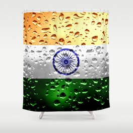 Flag of India - Raindrops Shower Curtain