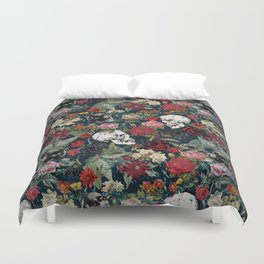 Distressed Floral with Skulls Pattern Duvet Cover