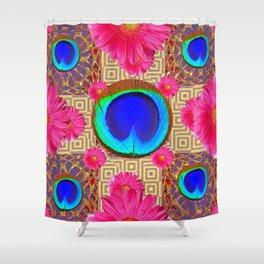 Cobalt blue & fuchsia pink Gerber flower Patterns Art Shower Curtain