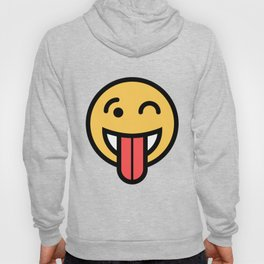 Smiley Face   Big Tongue Out And Squinting Joking Happy Face Hoody