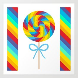 candy lollipop with bow, colorful spiral candy cane Art Print