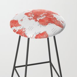 Living coral watercolor world map with cities Bar Stool