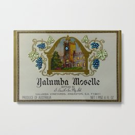 Vintage Blue Clock Yalumba Moselle Wine Bottle Label Print Metal Print